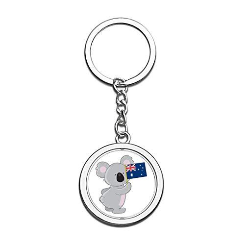 Australien Nationalflagge Schlüsselbund 3D Kristall Kreative Spinning Runde Edelstahl Schlüsselbund Reise Stadt Souvenir Schlüsselanhänger Ring