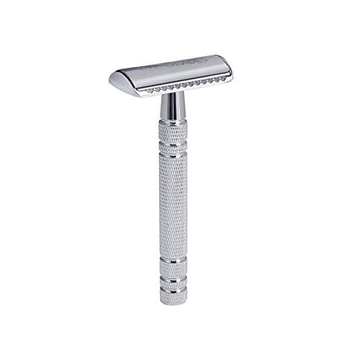 My-Blades® der 2in1 Rasierhobel aus verchromtem Metall mit 100x Premium Rasierklingen (80% Recycelt) im Set – offener und geschlossener Kamm