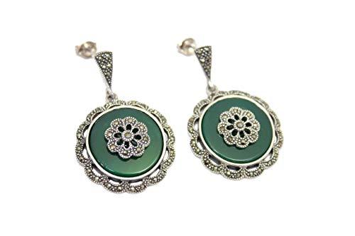 PH - Pendientes hechos a mano para mujer, plata de ley 925, ónix verde, piedras de marcasita D