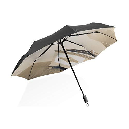 Little Girl Umbrella Altmodischer Grammophon-Plattenspieler Tragbarer kompakter Klappschirm Anti-UV-Schutz Winddichte Outdoor-Reisen Frauen Golfschirme für Männer