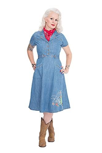 Queen Kerosin Western Vestido, Azul, S para Mujer
