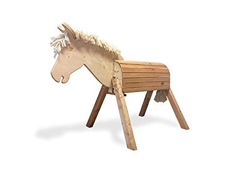 Helga Kreft 50050 Holzpferd für draußen Susi, Gartenpferd zum Draufsitzen und Reiten, bis 100kg, Sattelhöhe: 75cm, beweglicher Kopf, ab 3 Jahre