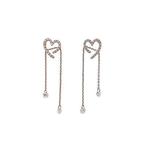 Koreanische Version des eleganten glänzenden Zirkon Liebesherz-langfristig □ Tropfen-Ohrringe Frauen Exquisite Micro-Shop mit Parkett-Schmuckschmucksachen TINGG (Color : 1)
