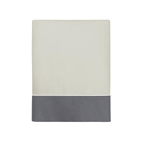 Blanc CERISEDrap Plat uni en Percale de Coton - COMPLICITEBeige Desert/Gris souris270x310 cm