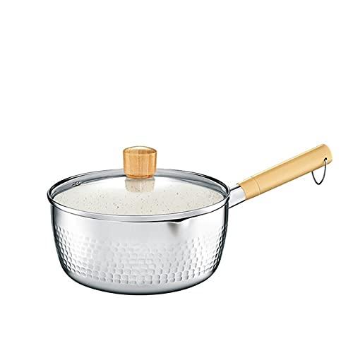 Yukihira Pan, tradizionale giapponese Yukihira Casheres Sauches Animale Animato Pentola multiuso grande (20 cm) Medio (18 cm) con manico in legno Grande per ramen tempura latte zuppa di alluminio lega