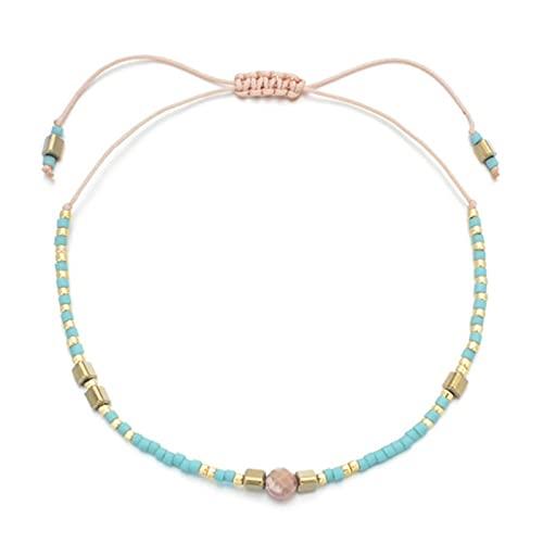 SONGK Pulseras de Cristal de Piedra con Cuentas Finas Bohemias brazaletes para Mujer Pulseras de Hilo de Nudo étnico Vintage Hechas a Mano