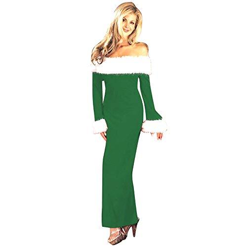 MORCHAN ❤ Cadeaux de noël Femmes Robe de soirée à Manches Longues pour avec épaules dénudées(XL,Vert)