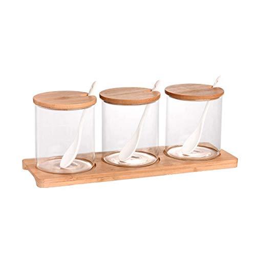 Gesh Juego de 3 tarros de cristal para especias con cuchara, recipiente organizador de condimentos, botes de pimienta, caja de almacenamiento con bandeja para cocina