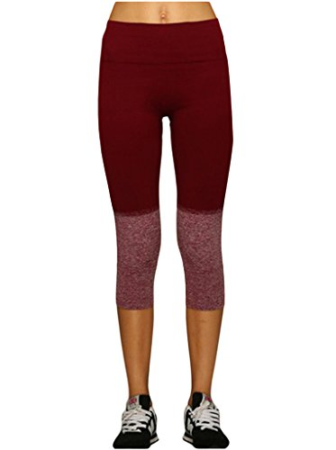Lotus Instyle Frauen Yoga Hose Abgeschnittene Hose Trainings Leggings Sport Leggings Jogginghose Rot-M