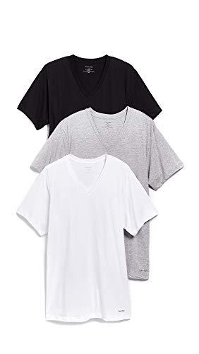 Calvin Klein Men's Cotton Classics Short Sleeve V-Neck T-Shirt, Multi, X-Large