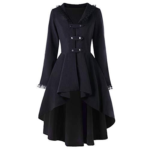 VERNASSA Giacca Steampunk Gotica Vintage in Pizzo da Donna,Cappotti Outwear Costume Vittoriano Uniforme, Soprabito Manica Lunga per la Festa di Halloween