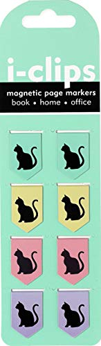 Black Cats i-clips Magnetic Page Markers (Set of 8 Magnetic Bookmarks)