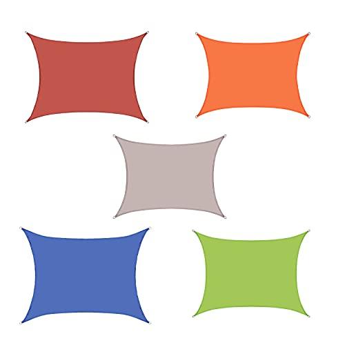 Sonnenschutz Balkon Fächer Sonnensegel Garten Aufrollbar Sonnensegel Wasserdicht Rechteckig Atmungsaktives Polyestergewebe Farbe Und Größe Können Angepasst Werden (Size:2*5M(6.6*16.4FT),Color:khaki)
