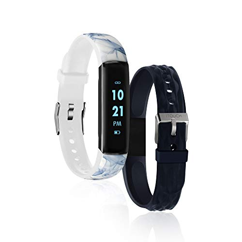 iTouch Slim Waterproof Fitness Activity Tracker, Heart Rate Monitor, Multi-Sports Mode, Pedometer, for Android and iOS Smartphones, Comes with Interchangeable Straps (White Marble/Navy)