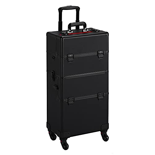 Yaheetech 3 in 1 Aluminum Cosmetic Case Professional Makeup Train Case Large Capacity Trolley Makeup Travel Case Black