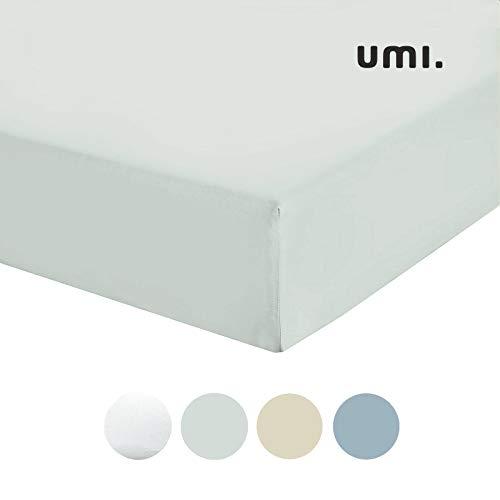 Umi. by Amazon - Sábana bajera de satén de algodón 100 %, cama doble, 300 hilos, gris claro