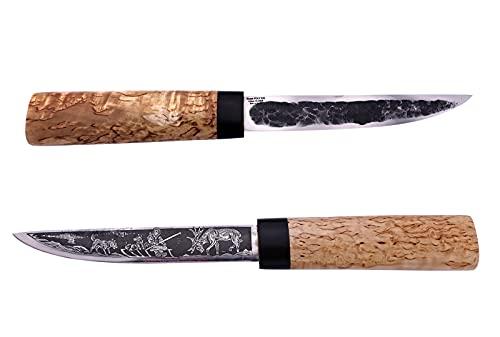 Messer -Yakut- Russisches Outdoor Jagdmesser Gürtelmesser mit handgeschmiedeter Klinge, Gravur2, edlem karelischem Maserbirke-Holzgriff und Lederscheide. Handarbeit aus Russland.