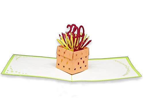 Tarjeta de felicitación de 20 años con diseño de origami