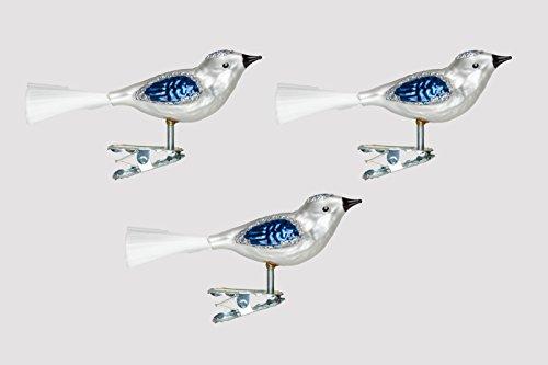 Glas Vogel Set 3 Stück Silber/Blau H Christbaumschmuck mundgelasen Lauscha