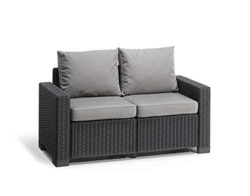 (2-Seater Sofa, Graphite) - Keter Allibert California 2 Seater Rattan Sofa Outdoor Garden Furniture - Graphite with Grey Cushions