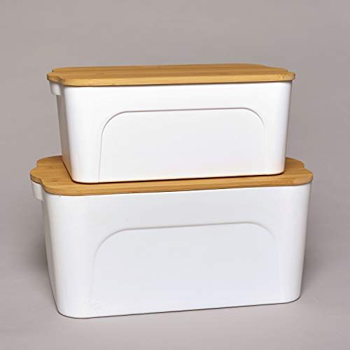 The Lakeside Collection Plastic Storage Baskets with Bamboo Wooden Lids - White - Set of 2