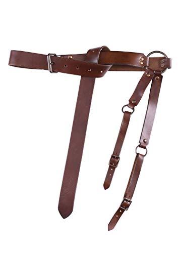 Mittelalter Schwertgürtel aus braunem Leder – Mittelalter Schwerthalter mit Gürtel von Battle-Merchant - 4