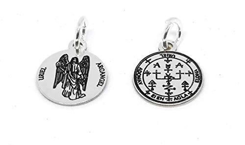 Medalla sello Arcangel Uriel 12 mm en plata de ley 925