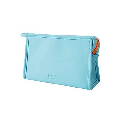 NEWSHRZ_home Pure Color Makeup Bag, Travel Toiletry Bag Portable Cosmetic Pouch Waterproof Organizer with Holders Zipper Storage Case for Women and Girls (Sky Blue)