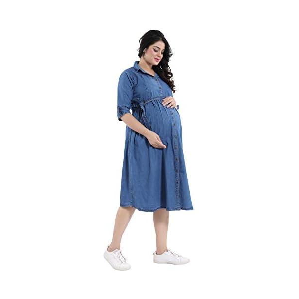MAMMA'S MATERNITY Denim Blue Maternity Dresses India