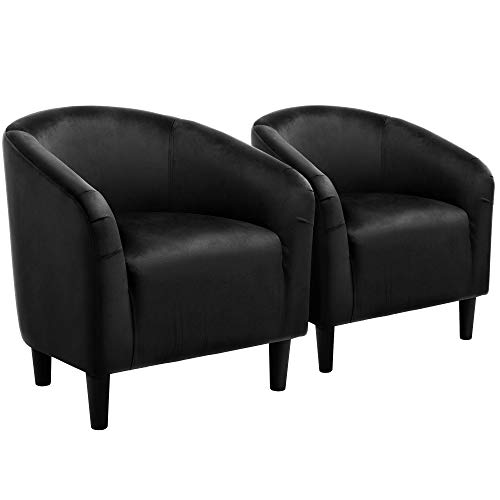 YAHEETECH Pack of 2 Velvet Armchair Modern Club Chair Accent Chair Upholstered Barrel Chair Black