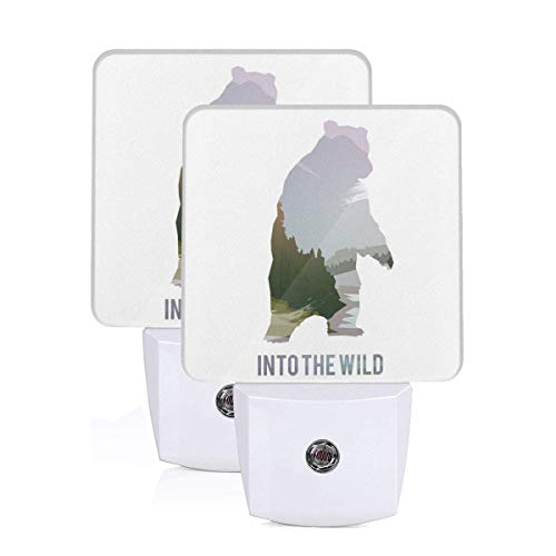 Wild Animals Of Canada Survival In The Wild Theme Hunting Camping Trip Outdoors Auto Sensor LED Dusk to Dawn Night Light Set Of 2 White