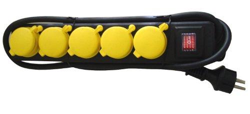 uniTEC 47555 FR - Presa multipla da tavolo IP44, 5f, 1,5m, H07RN-F3G, 1,5mm², colore: Nero/Giallo