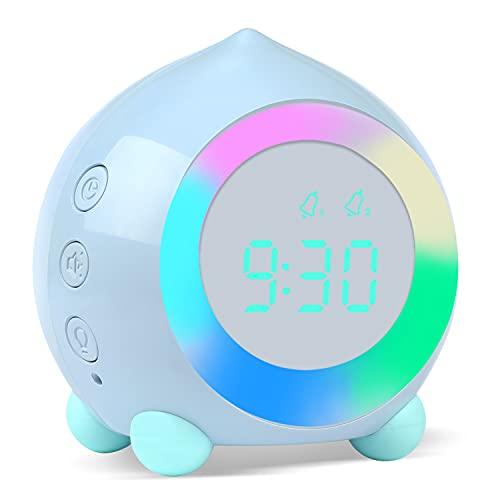 ZKIAH Reloj Despertador Infantil, Digital Despertador para Niños Niñas, Reloj Mesita de Noche Despertador Sobremesa, Silenciosa Cabecera Lindo Despertador Infantil (Azul)