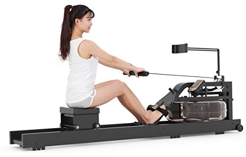 leikefitness Water Rowing Machine Water Rower with Adjustable Water Resistance & Large LCD Monitor for Home Use GM6050(Black)