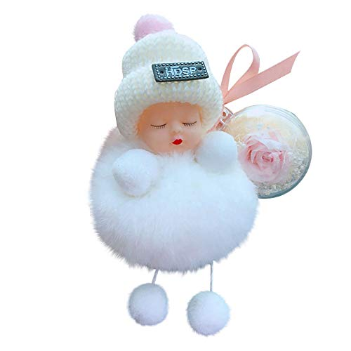 Key Pendant Cute Sleep Baby Doll Rose Keychain Bowtie Pompom Fur Fluffy Key Ring Bag Wallet Handing Ornament for Key Bag Mobile Phone Valentine's Day