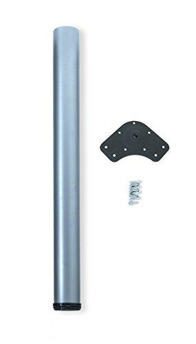 Emuca - Regulierbares Tischbein Ø60x870mm, 1er Set aus Stahl, regulierbare Höhe 870-890mm, Metallic-Grau-Finish
