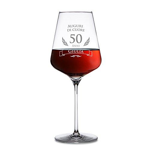 AMAVEL Calice da Vino Rosso con Incisione per Il Compleanno, Auguri di Cuore 50 Anni, Personalizzato con Nome, Regali Originali per Lui e Lei, Bicchiere in Vetro Chiaro, ca. 500 ml