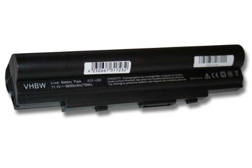 batterie LI-ION 6600mAh, noir, pour ASUS U20, U20A, U20A-A1, U20A-B1, U20A-B2 etc. Remplace 07G016971875, 70-NUP1B2100Z, 70-NV61B1100Z etc.