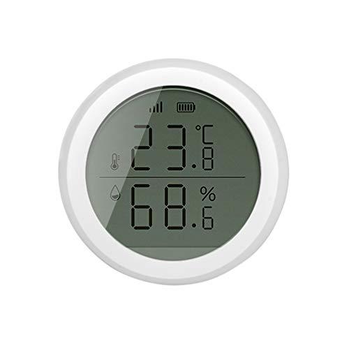 IMIKEYA Termómetro Inalámbrico Higrómetro con Pantalla Lcd Humedad Sensor Inalámbrico Detector de Calor Control de Aplicación para Casa Vino Cigarro Sala de Estar Habitación de Bebé (Blanco)