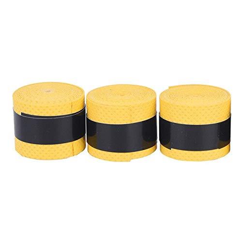3pc Seco Tennis Raqueta Grip Anti-Skid Sujete Absorbado Wraps Taps Bádminton Grips Raqueta Vibración Overgrip Sweatband Hot Sports (Color : Yellow 3PCS)