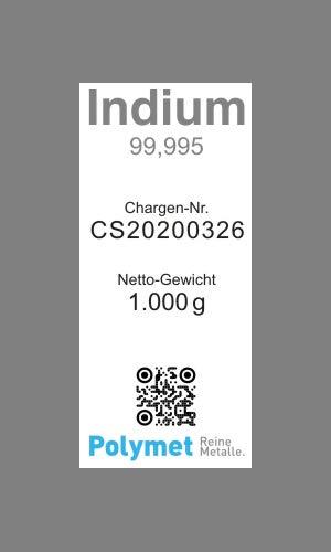 Indiumbarren 1kg In 99,995 Indium-Barren 1000g In 4N5 mit Analysenzertifikat, reines Metall, Element