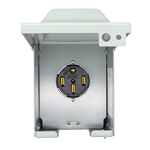 Scicalife Caja de Toma de Corriente RV EV 125/250 Voltios 30 Amp Resistente a La Intemperie Panel de Receptáculo Eléctrico Aire Libre Bloqueable