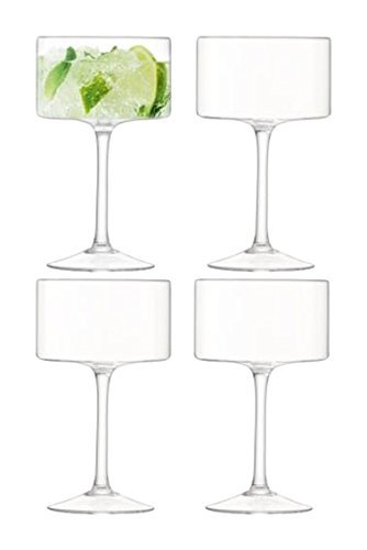 LSA International Otis/Champagne, Verre à Cocktail, Verre, Transparent, 280 ML, Lot de 4