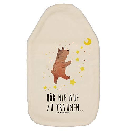 Mr. & Mrs. Panda Wärmekissen, Kinderwärmflasche, Wärmflasche Bär Träume mit Spruch - Farbe Weiß