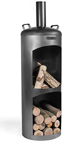 Faro - Horno de jardín (150 cm de altura, para calentar y asar, acero natural)