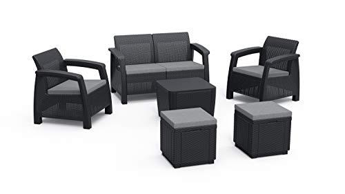 Alibert by Keter Corfu 2er Set Gartenstuhl aus Kunstoff + Corfu II Love Seat + Gartentisch Luzon Plus Flat Wicker