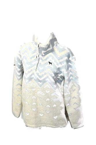 Victoria's Secret PINK Pullover Sherpa Boyfriend Geometric Sweater Half Zip (Extra Small)