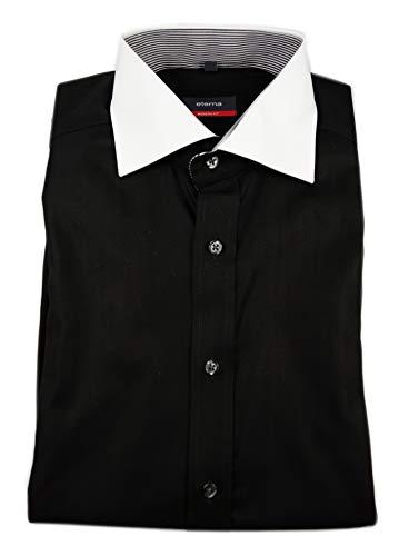 eterna Herren Kurzarm Hemd Modern Fit schwarz strukturiert (Fischgrat) Kontrastkragen 1124.39.C121 (38, Schwarz)