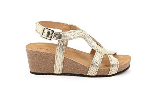 Grunland - ersi frau sandal wedge cork - 37 - platino
