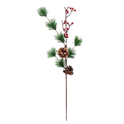 HanOBC 3 púas artificiales de Navidad de 24.8 pulgadas, varios tallos de bayas rojas con conos de pino, ramas de aguja de pino sintético para árbol de Navidad, hogar, fiesta, decoración de boda